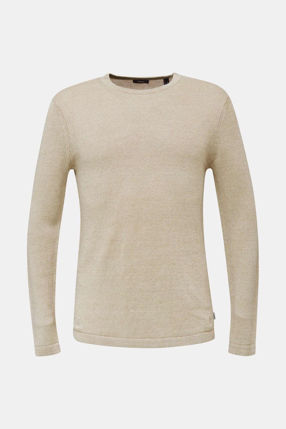 100% linen: knit jumper, LIGHT BEIGE, detail image number 6