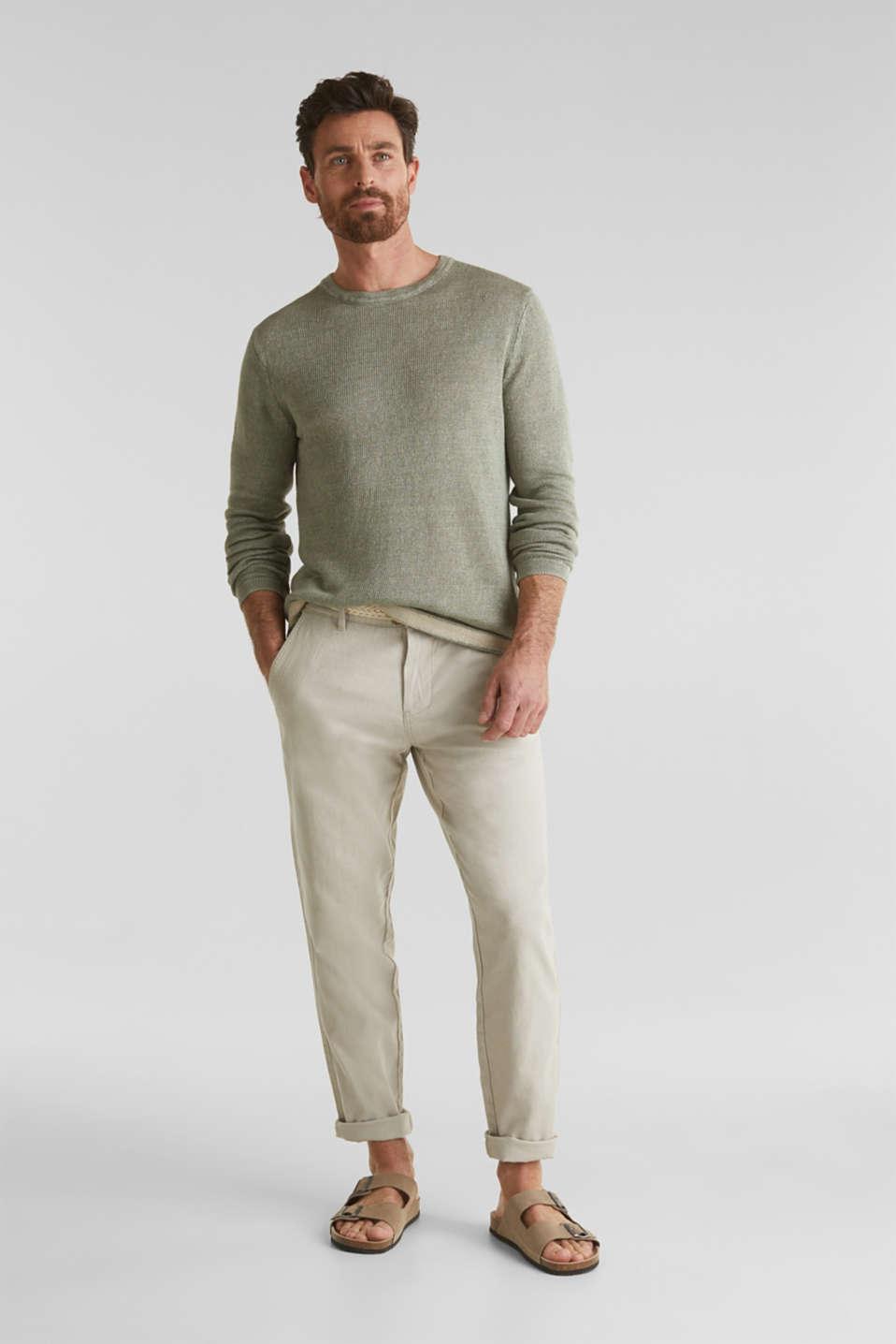 100% linen: knit jumper, LIGHT KHAKI, detail image number 1
