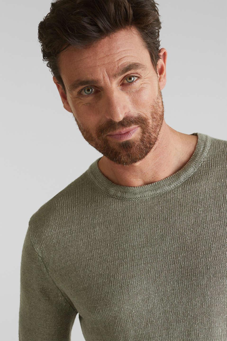 100% linen: knit jumper, LIGHT KHAKI, detail image number 2