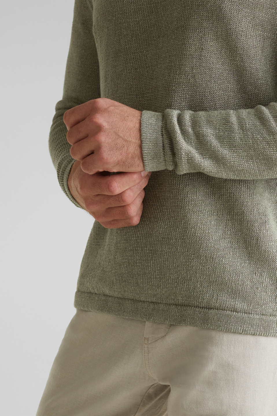 100% linen: knit jumper, LIGHT KHAKI, detail image number 5