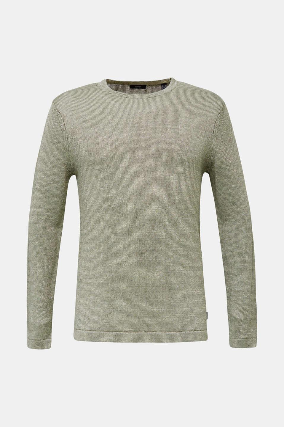 100% linen: knit jumper, LIGHT KHAKI, detail image number 6