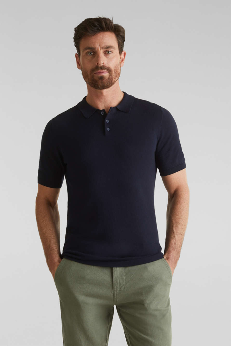 Polo jumper, 100% organic cotton, NAVY, detail image number 0
