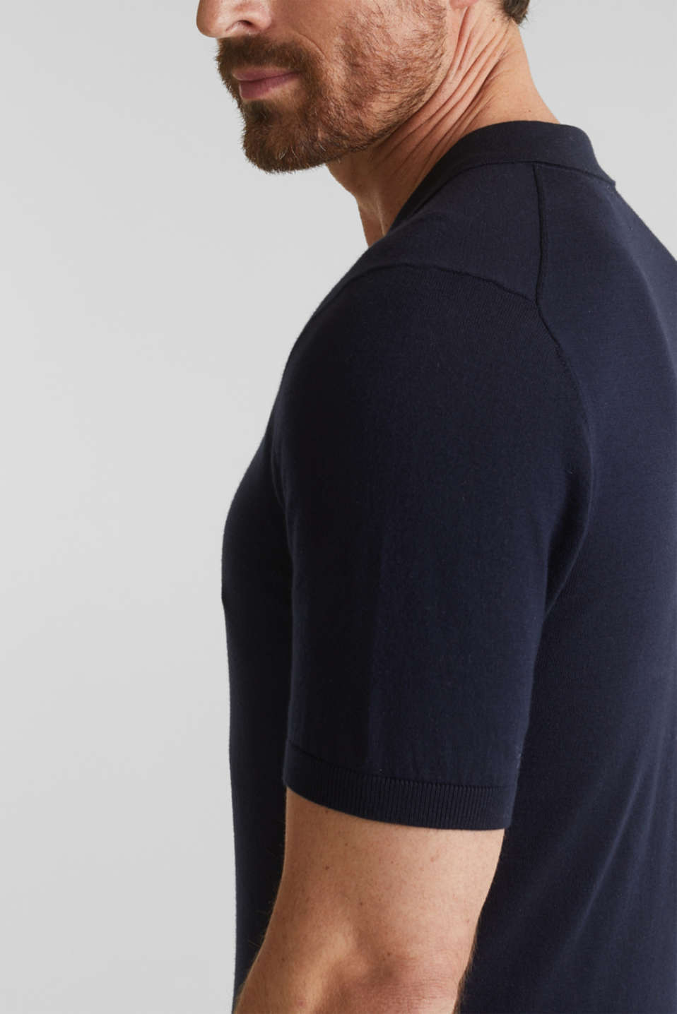 Polo jumper, 100% organic cotton, NAVY, detail image number 5