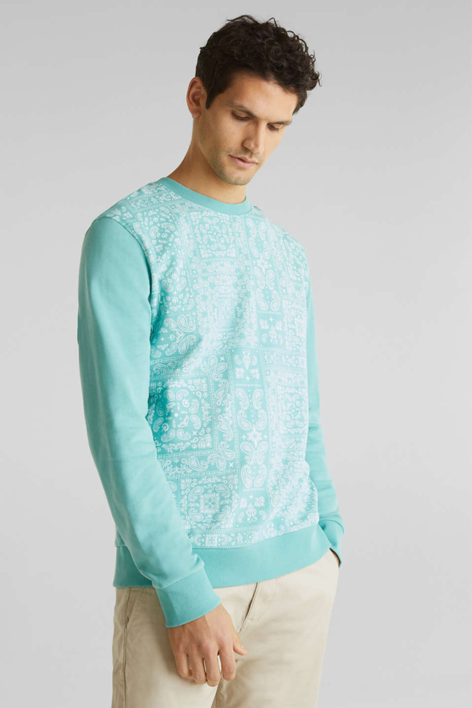 Esprit - Sweatshirt with a paisley print, 100% cotton