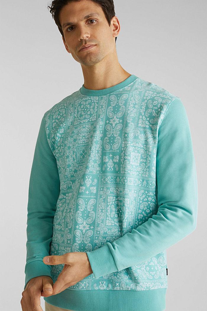 Sweatshirt mit Paisley-Print, 100% Baumwolle, DUSTY GREEN, detail image number 4