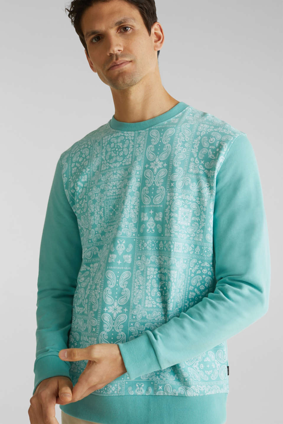 Sweatshirt with a paisley print, 100% cotton, DUSTY GREEN 4, detail image number 4