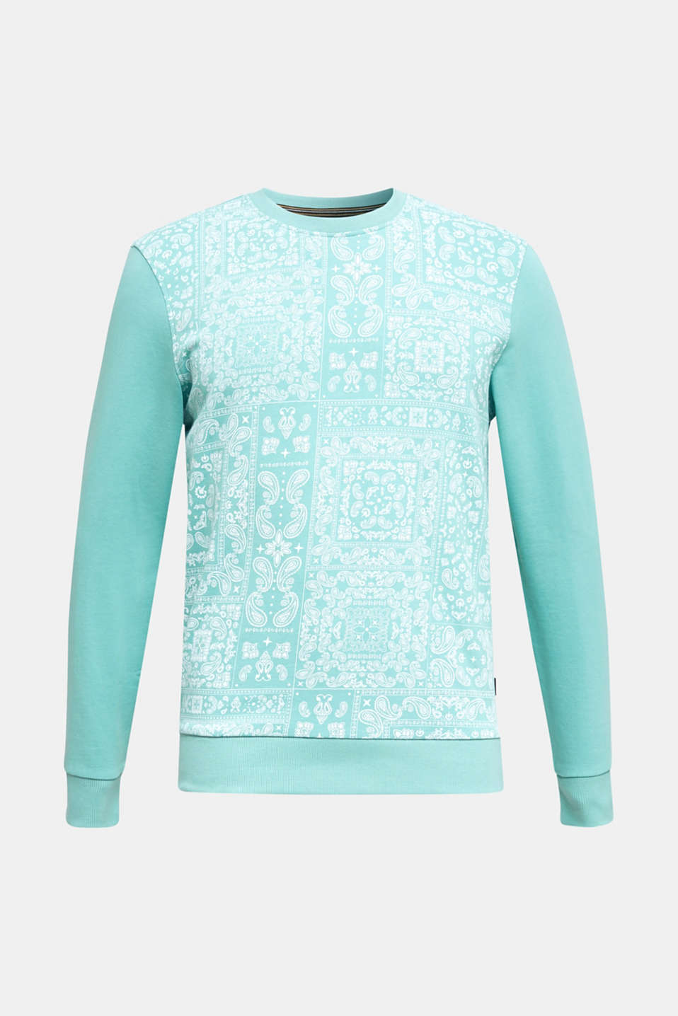 Sweatshirt with a paisley print, 100% cotton, DUSTY GREEN 4, detail image number 7