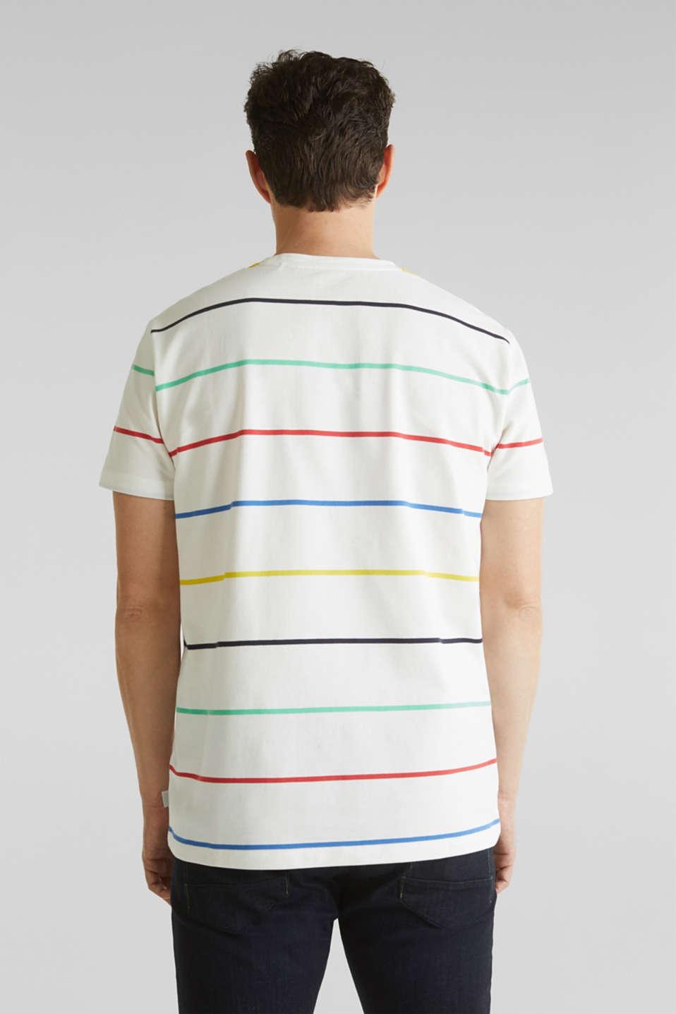 Striped piqué T-shirt, 100% cotton, OFF WHITE 3, detail image number 3