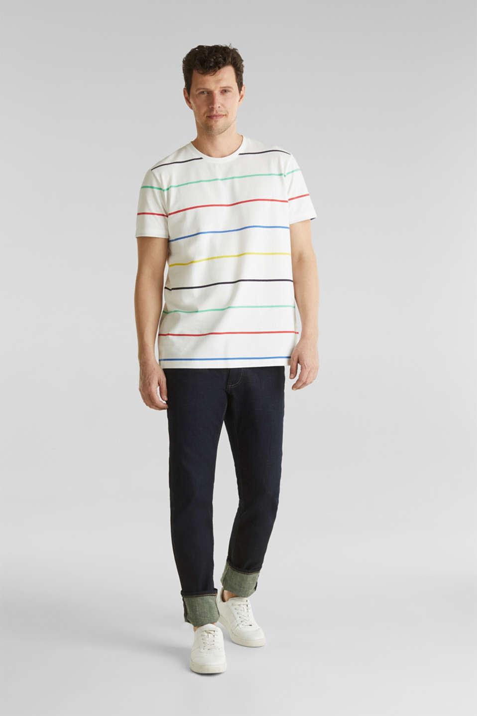Striped piqué T-shirt, 100% cotton, OFF WHITE 3, detail image number 2