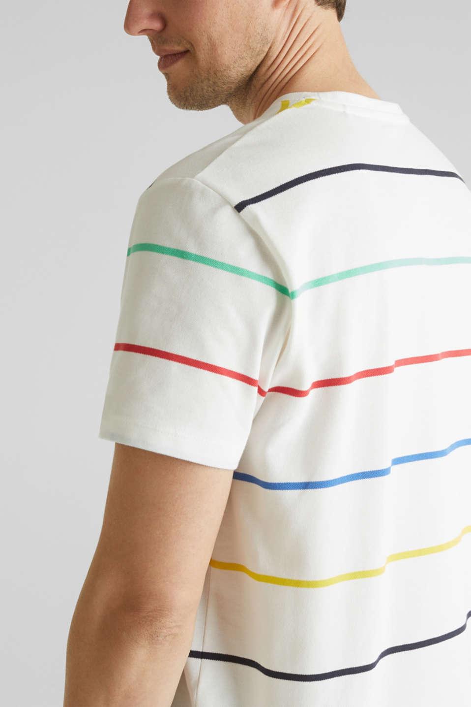 Striped piqué T-shirt, 100% cotton, OFF WHITE 3, detail image number 1