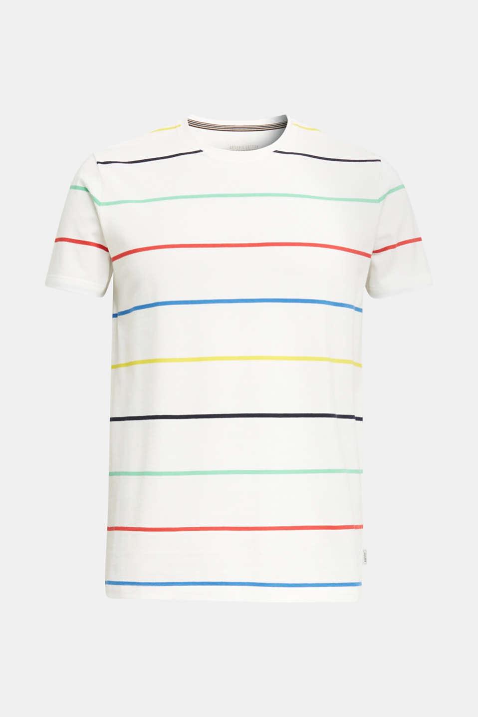 Striped piqué T-shirt, 100% cotton, OFF WHITE 3, detail image number 6