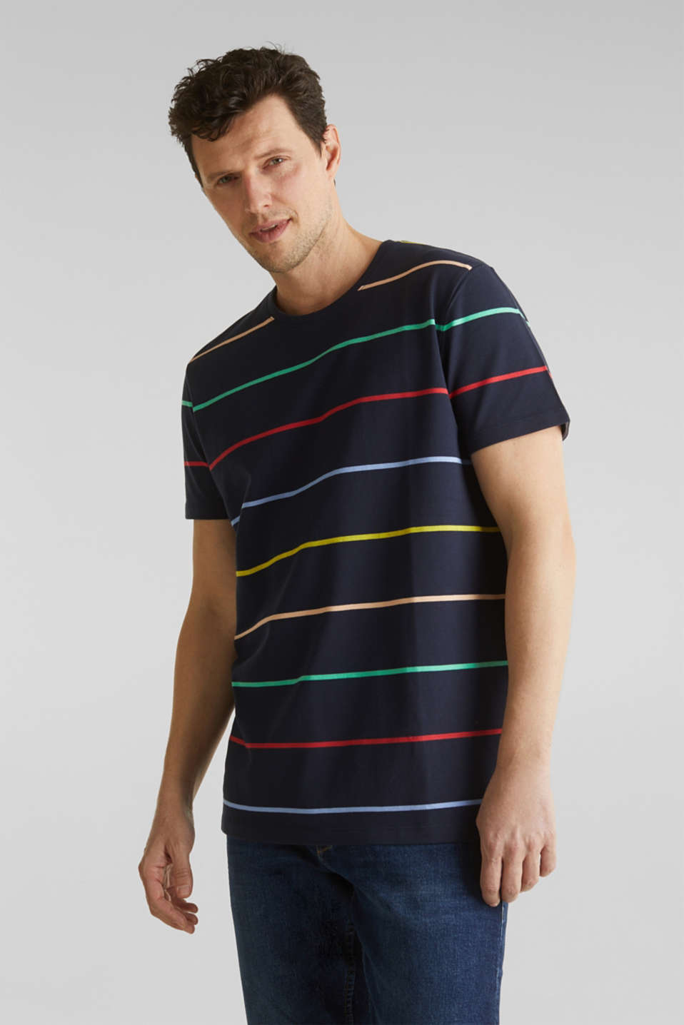 Esprit - Striped piqué T-shirt, 100% cotton