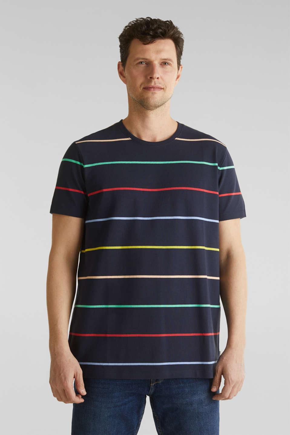 Striped piqué T-shirt, 100% cotton, NAVY 3, detail image number 4