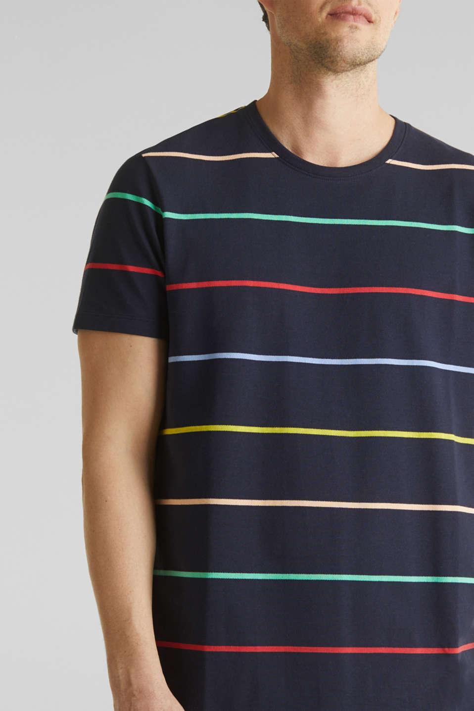 Striped piqué T-shirt, 100% cotton, NAVY 3, detail image number 1