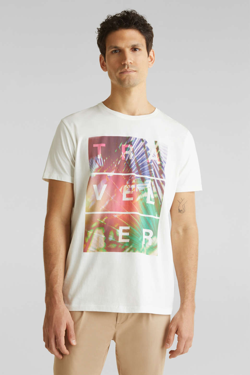Jersey T-shirt with a print, 100% cotton, OFF WHITE, detail image number 0
