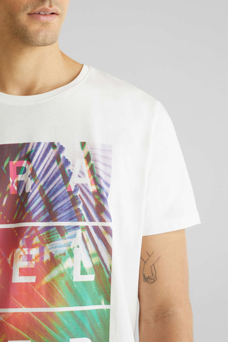 Jersey T-shirt with a print, 100% cotton, OFF WHITE, detail image number 1