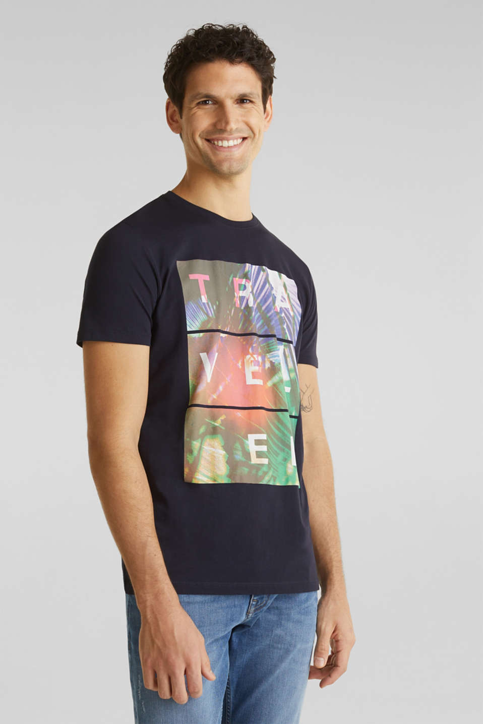 Esprit - Jersey T-shirt with a print, 100% cotton