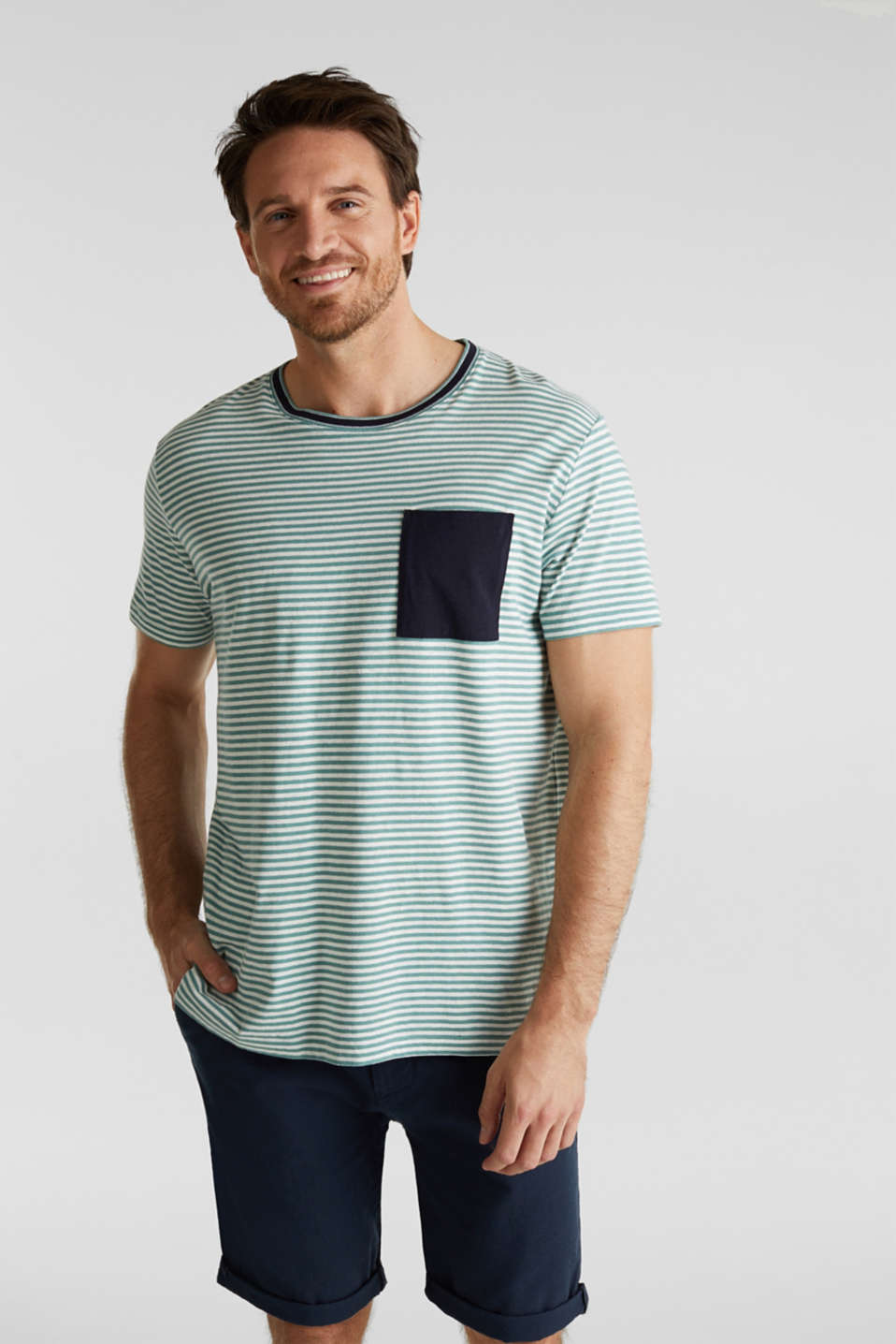 With linen: Jersey top with a pocket, TEAL GREEN 3, detail image number 0