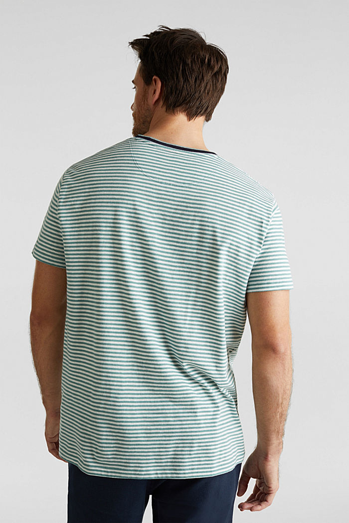 With linen: Jersey top with a pocket, TEAL GREEN, detail image number 3
