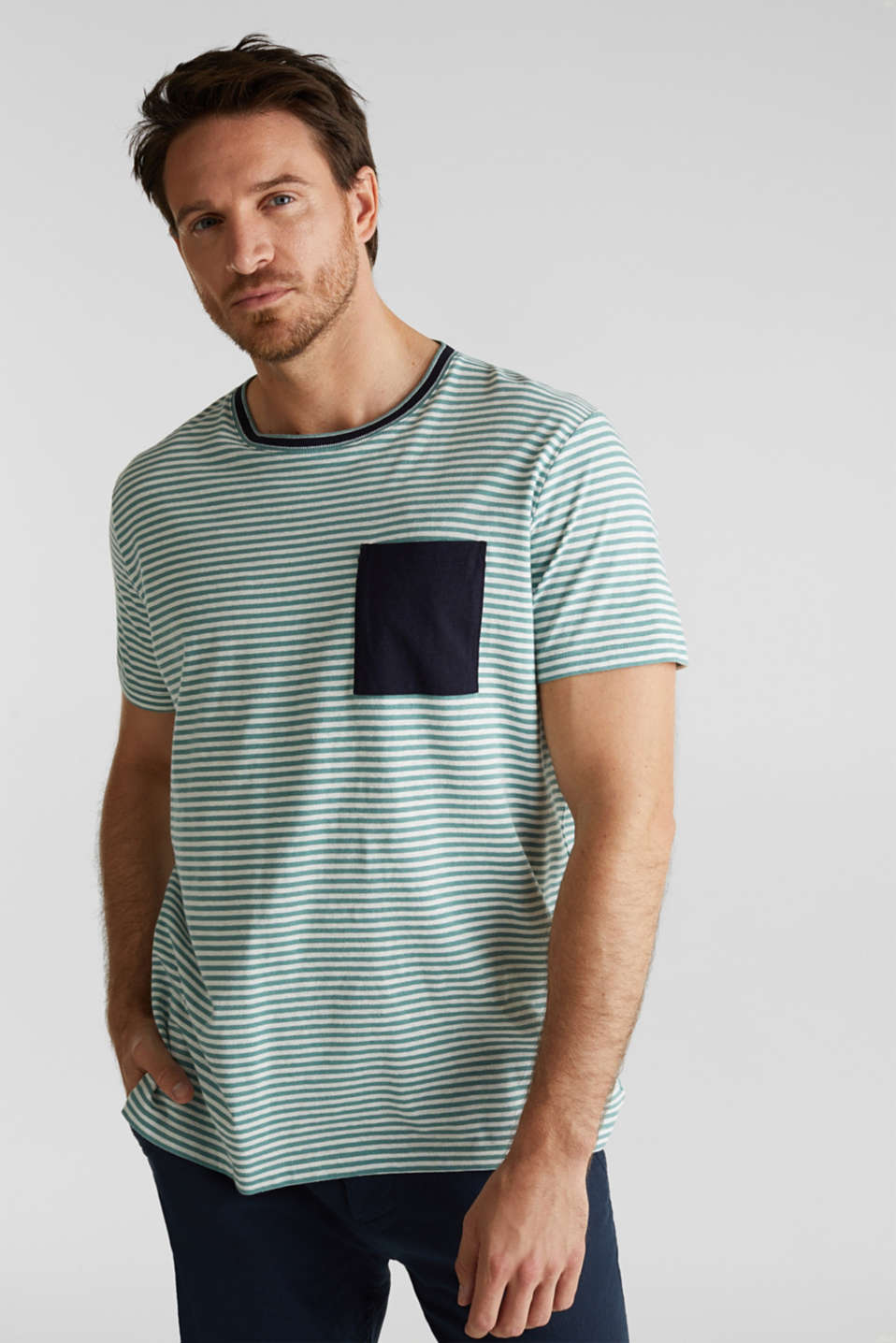 With linen: Jersey top with a pocket, TEAL GREEN 3, detail image number 4