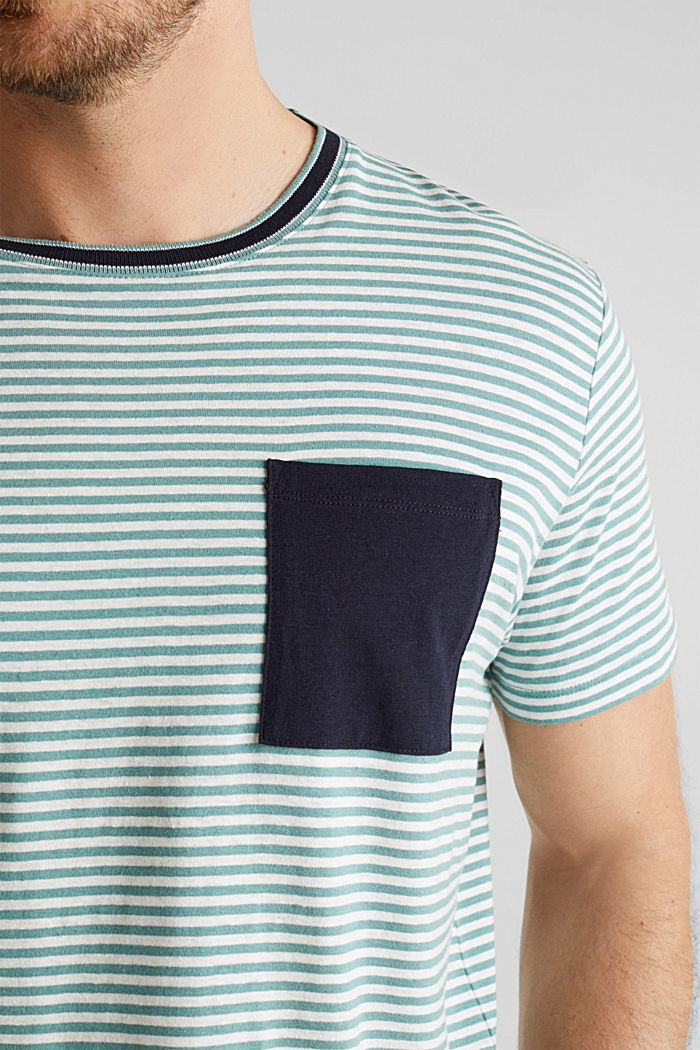 With linen: Jersey top with a pocket, TEAL GREEN, detail image number 1