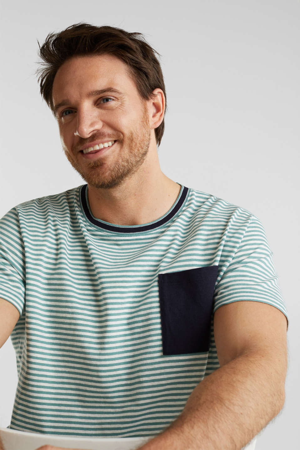 With linen: Jersey top with a pocket, TEAL GREEN 3, detail image number 6