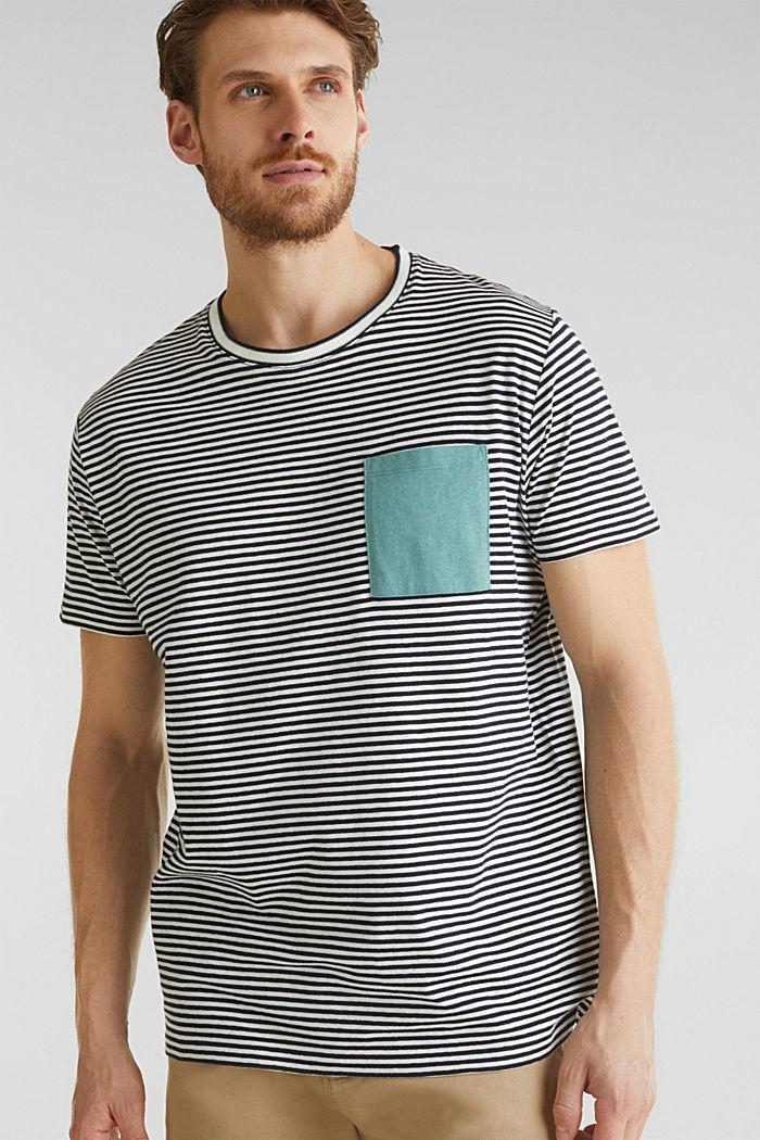 Met linnen: jersey shirt met zak, NAVY, detail image number 0