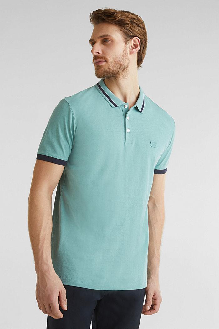 Mit Leinen: Jersey-Poloshirt mit Kontrasten