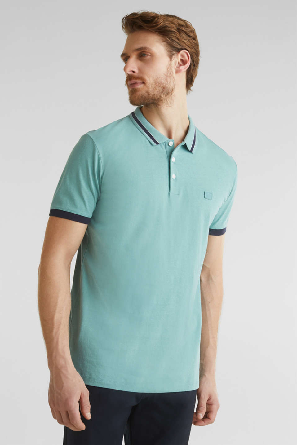 With linen: jersey polo shirt with contrasts, TEAL GREEN, detail image number 0