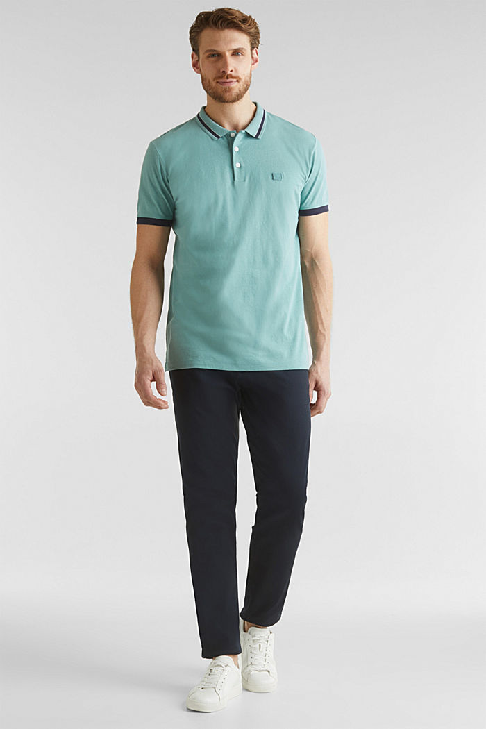 With linen: jersey polo shirt with contrasts, TEAL GREEN, detail image number 1