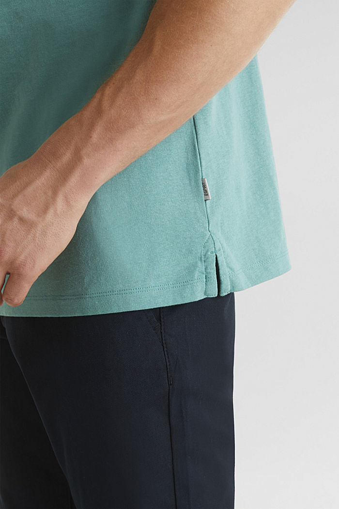 With linen: jersey polo shirt with contrasts, TEAL GREEN, detail image number 4