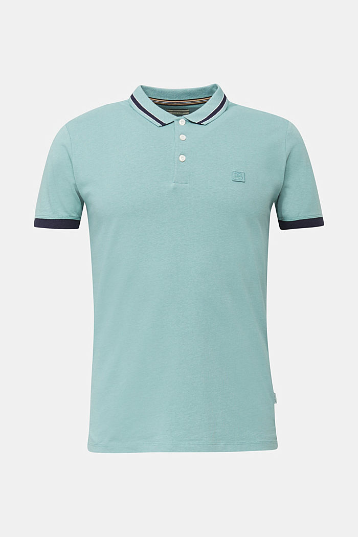 With linen: jersey polo shirt with contrasts, TEAL GREEN, detail image number 5