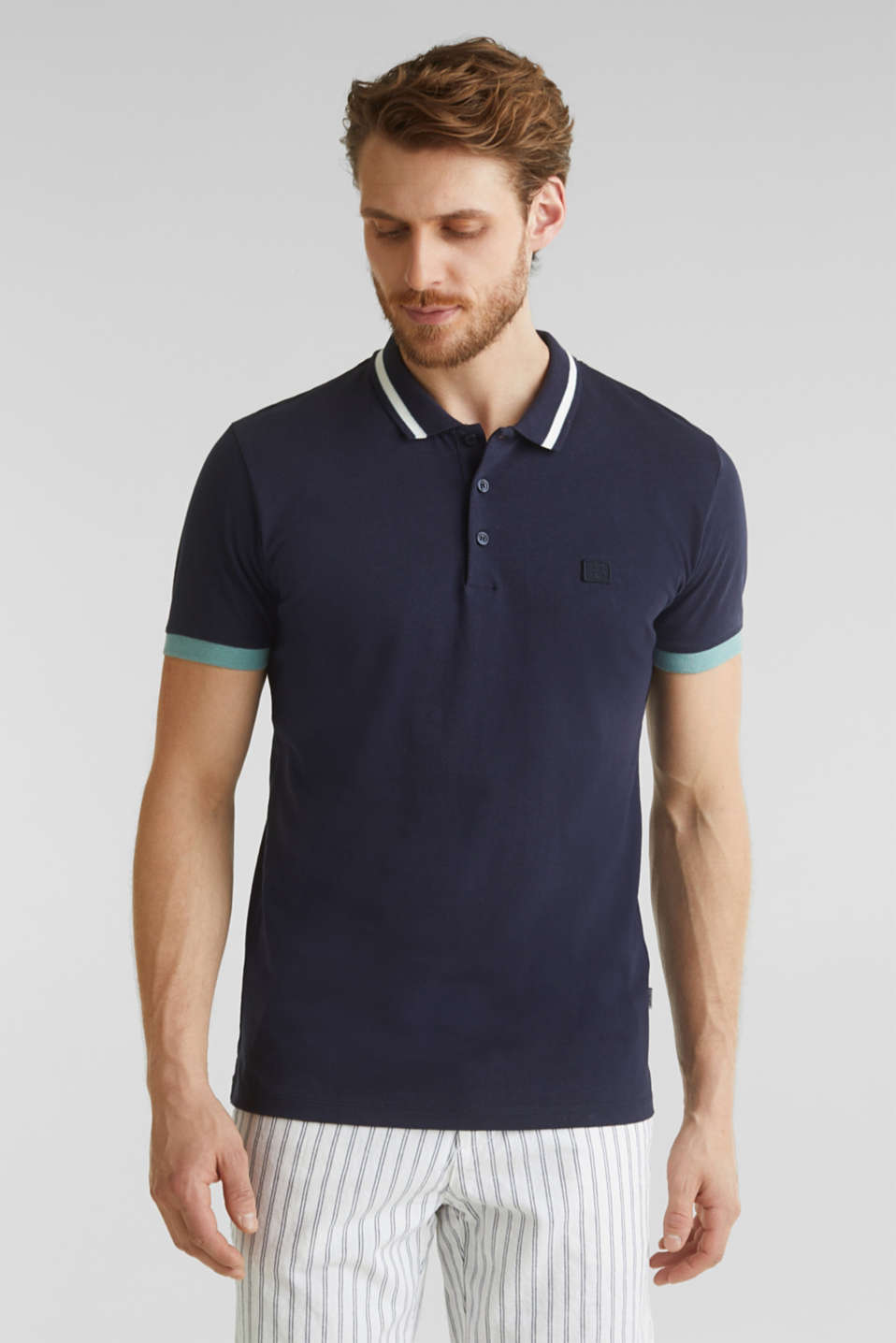 Esprit - With linen: jersey polo shirt with contrasts