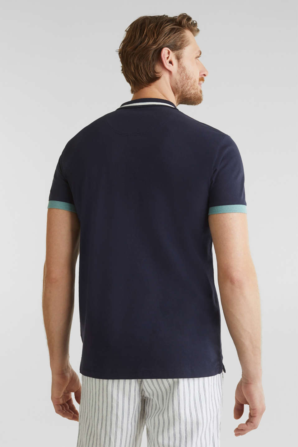 With linen: jersey polo shirt with contrasts, NAVY, detail image number 2