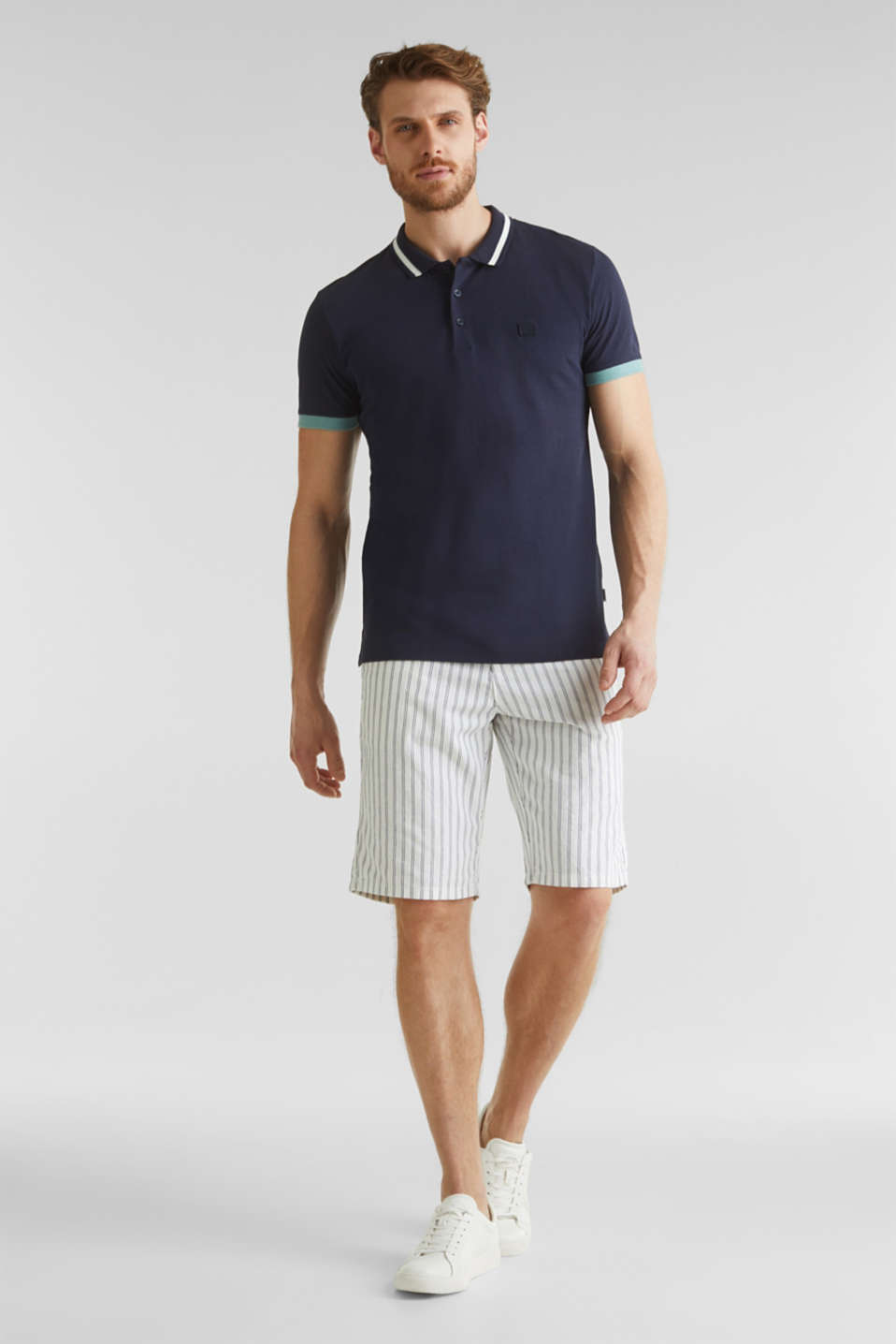 With linen: jersey polo shirt with contrasts, NAVY, detail image number 1