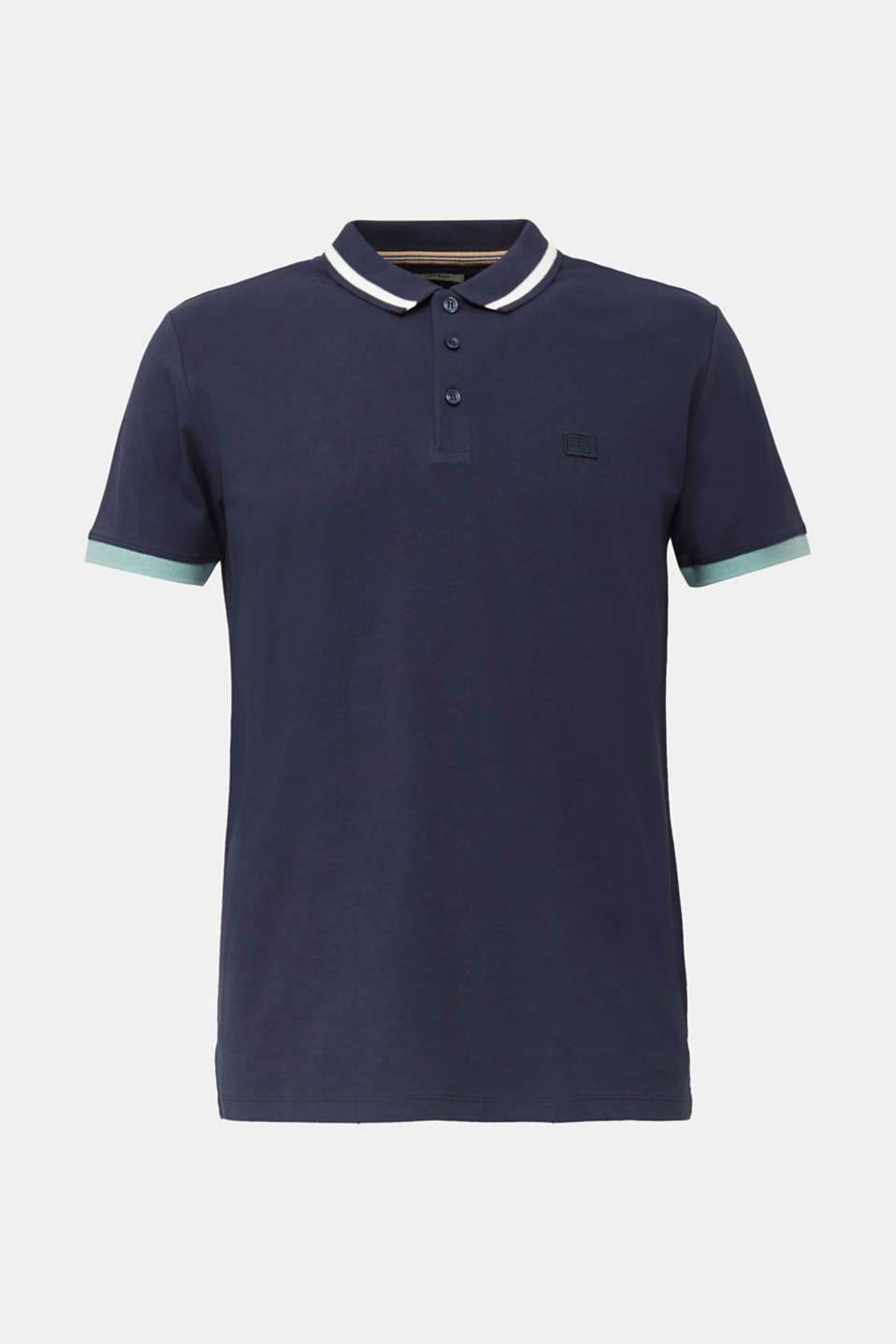 With linen: jersey polo shirt with contrasts, NAVY, detail image number 6