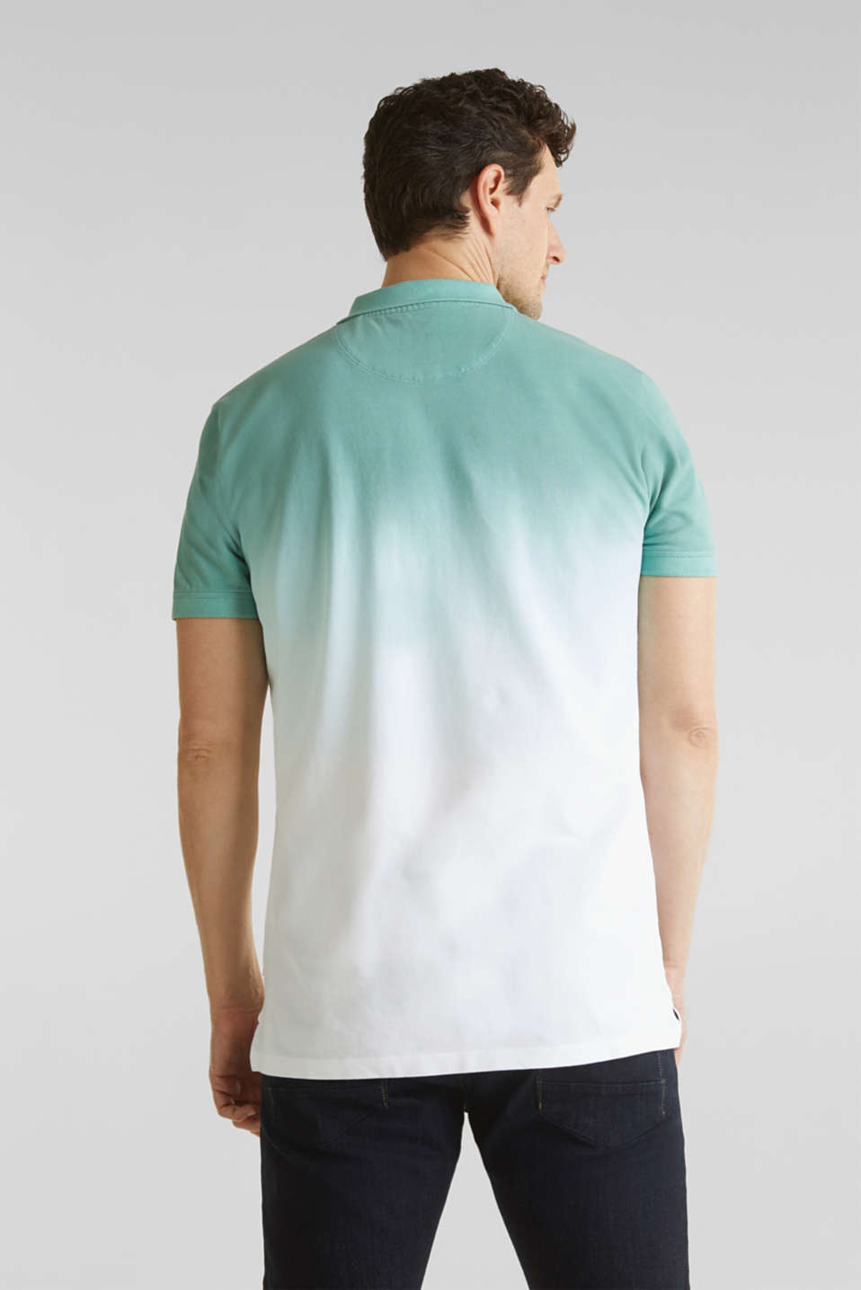 Piqué polo shirt with colour graduation, TEAL GREEN 2, detail image number 3