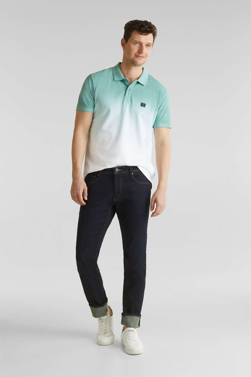 Piqué polo shirt with colour graduation, TEAL GREEN 2, detail image number 2