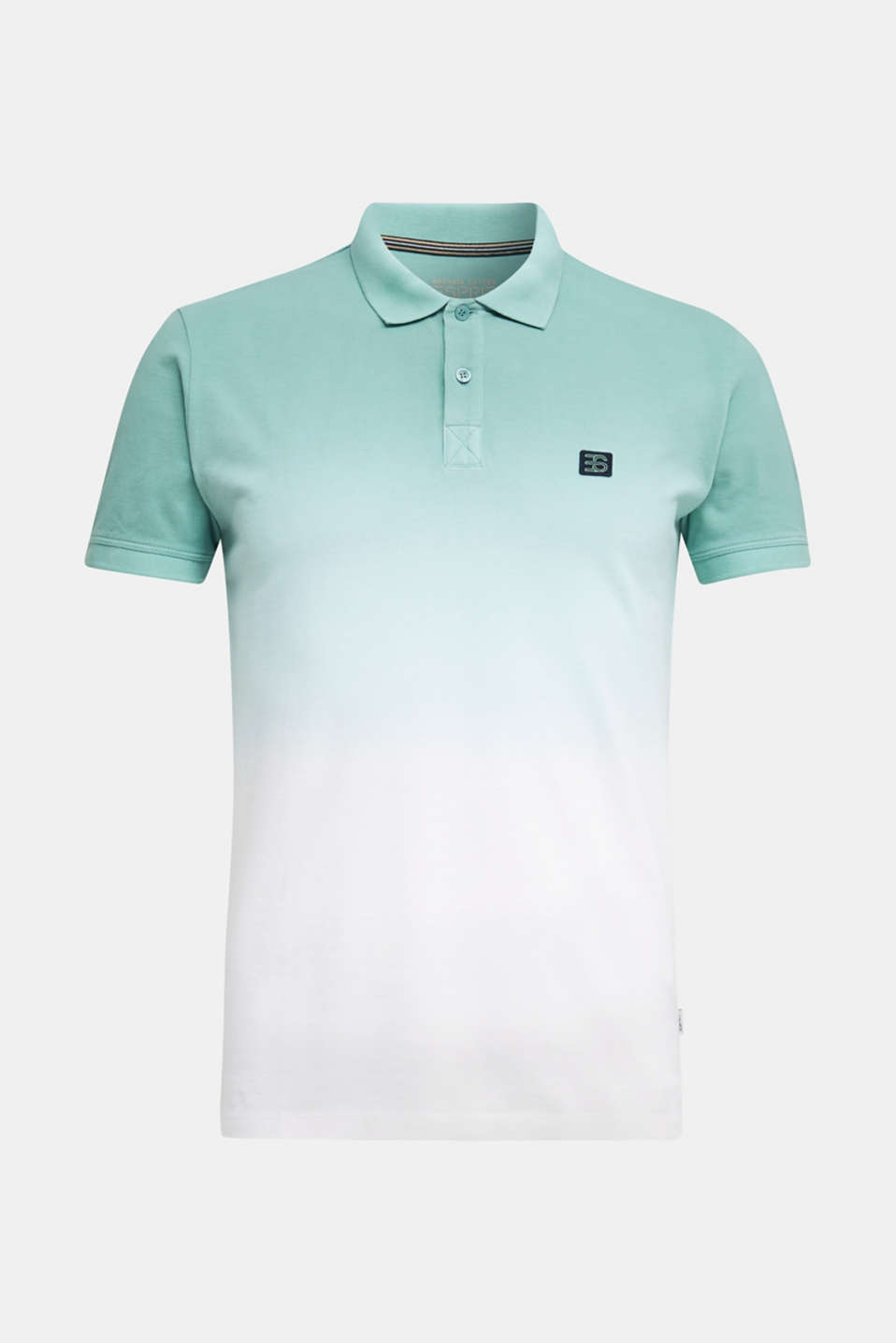 Piqué polo shirt with colour graduation, TEAL GREEN 2, detail image number 6
