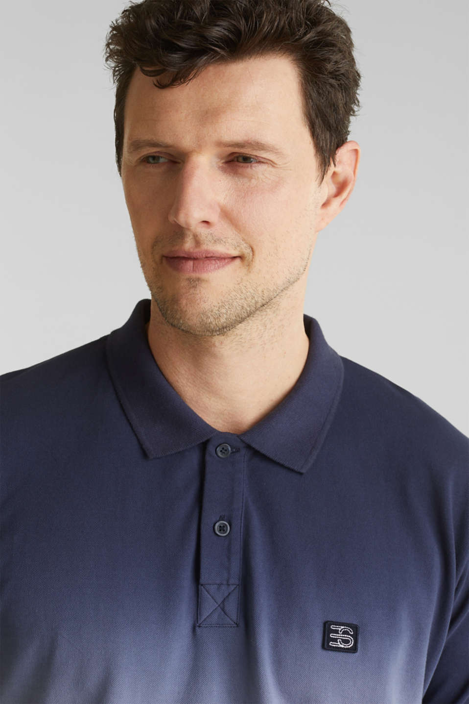 Piqué polo shirt with colour graduation, NAVY 2, detail image number 1