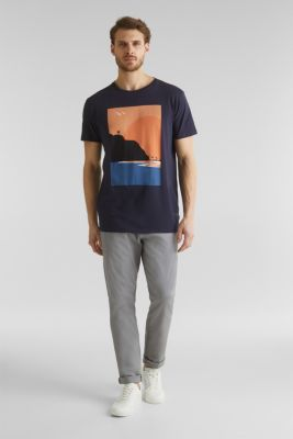 Printed T-shirt in 100% organic cotton, NAVY, detail