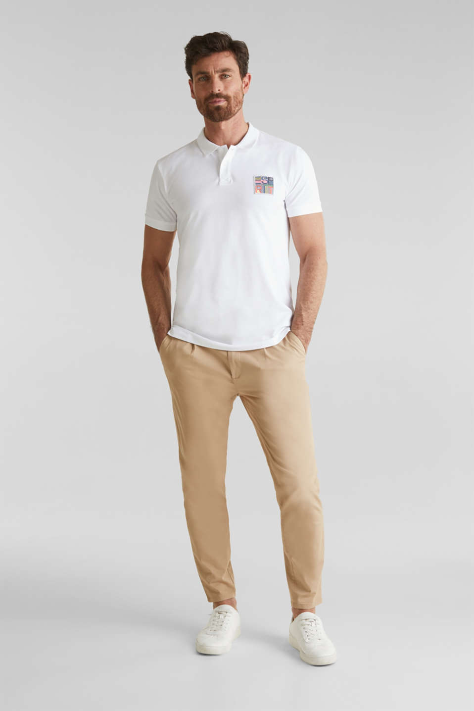 Piqué polo shirt in 100% organic cotton, WHITE, detail image number 2
