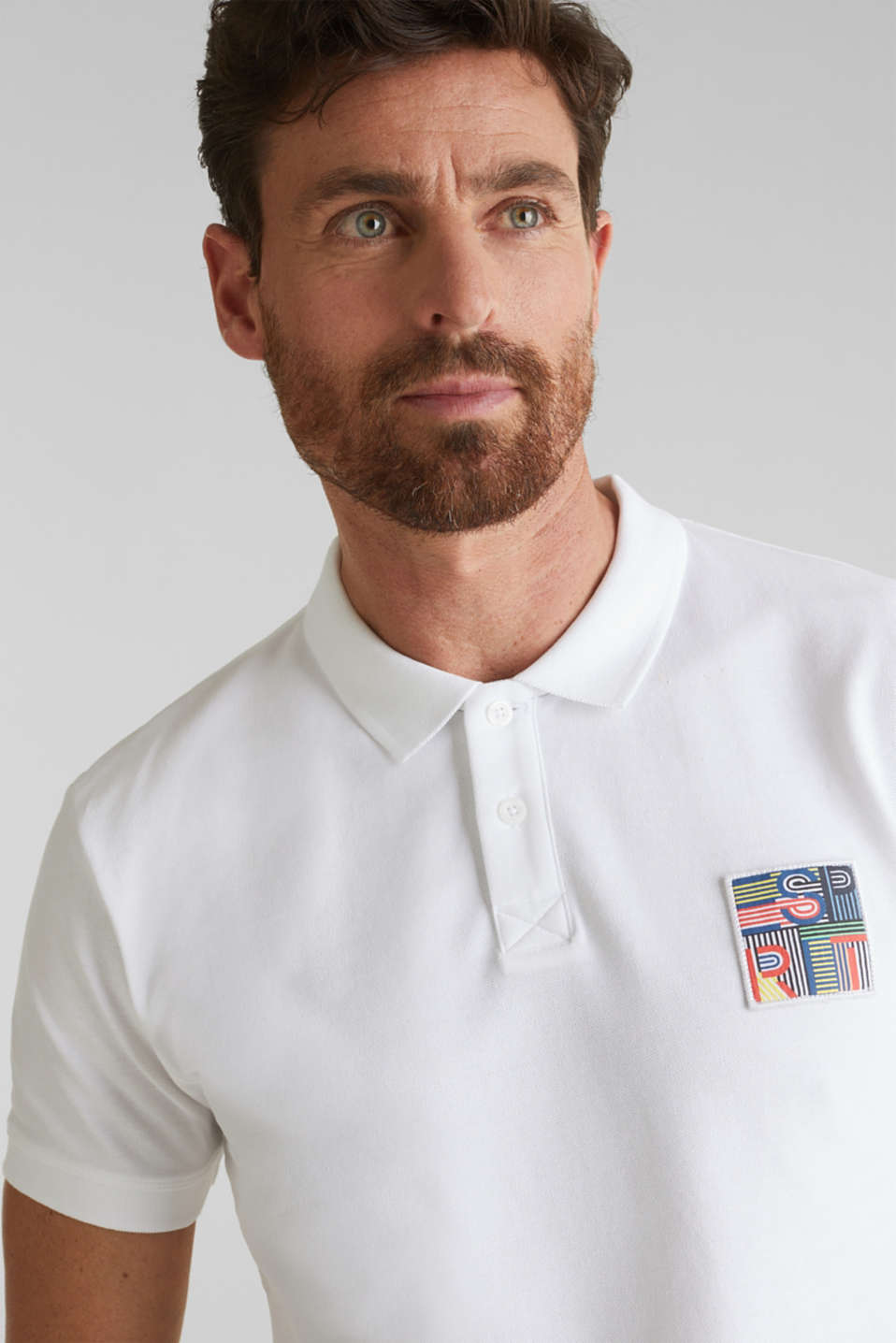 Piqué polo shirt in 100% organic cotton, WHITE, detail image number 5
