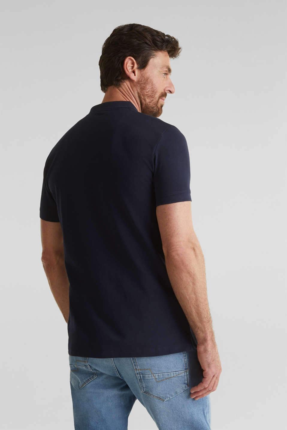 Piqué polo shirt in 100% organic cotton, NAVY, detail image number 3