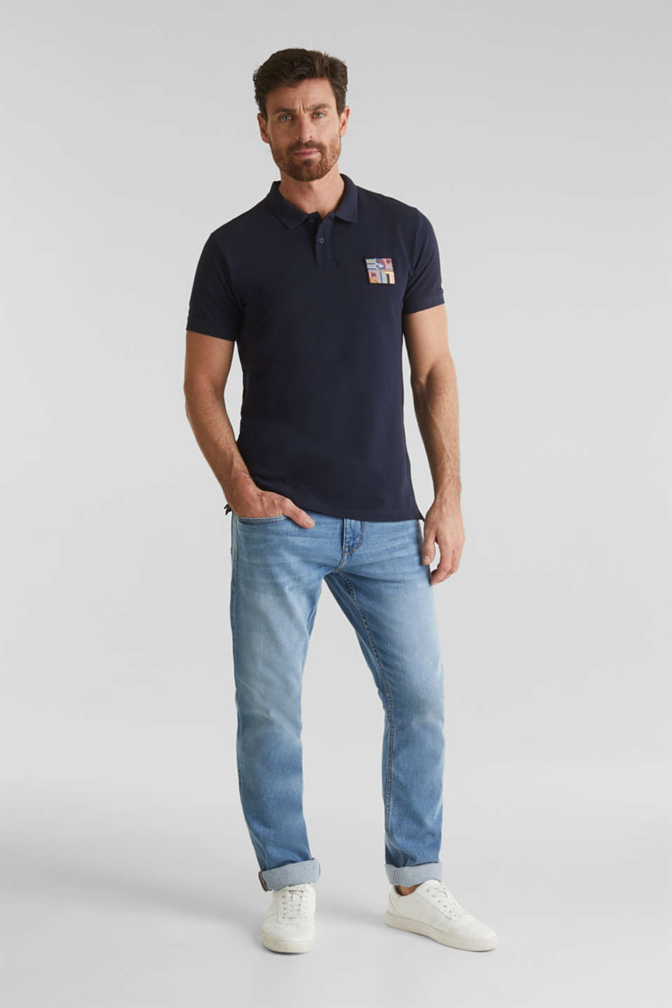 Piqué polo shirt in 100% organic cotton, NAVY, detail image number 2