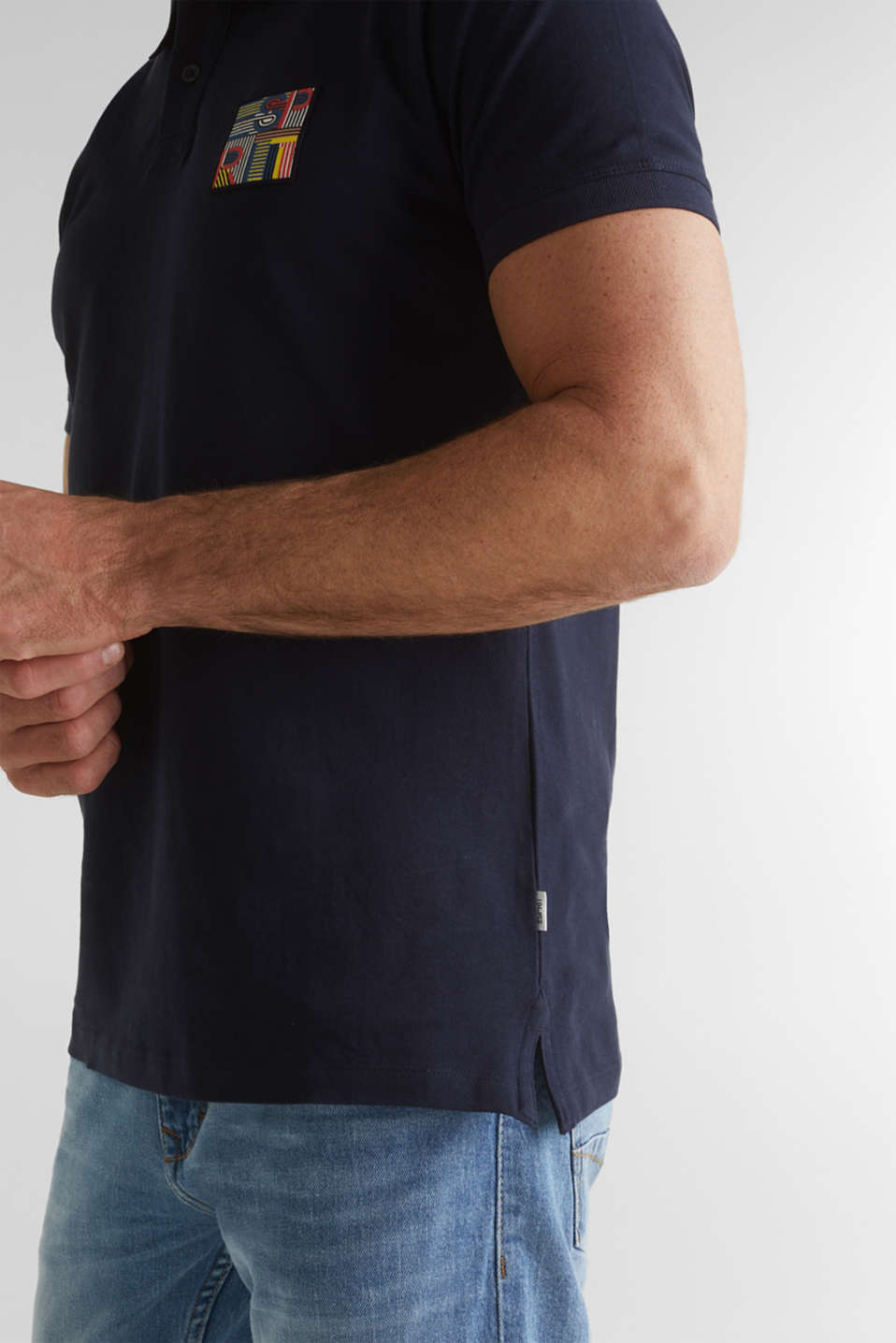 Piqué polo shirt in 100% organic cotton, NAVY, detail image number 1