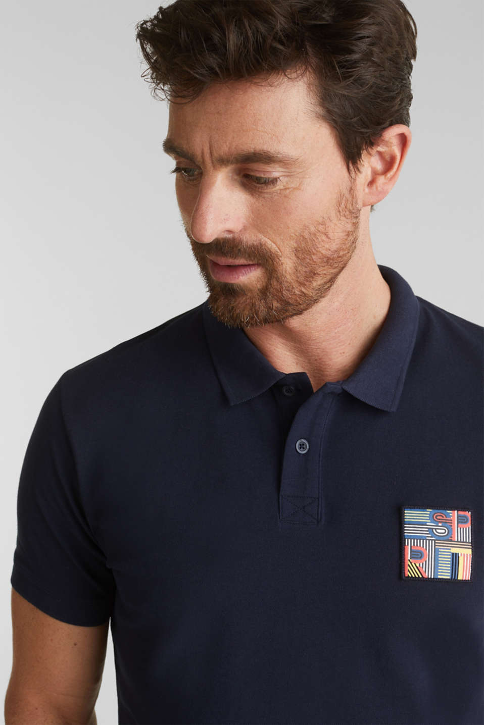 Piqué polo shirt in 100% organic cotton, NAVY, detail image number 5