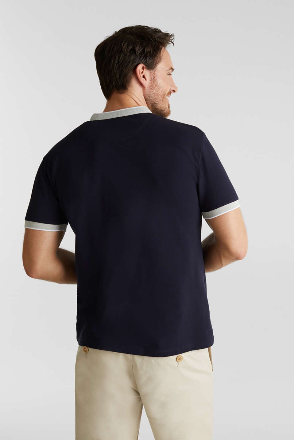 Stretch cotton piqué polo shirt, NAVY, detail image number 3