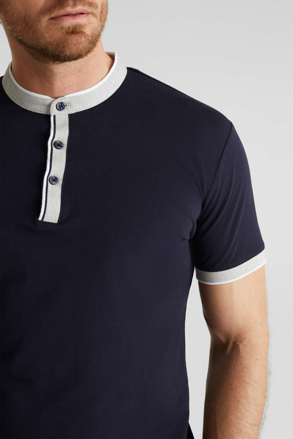 Stretch cotton piqué polo shirt, NAVY, detail image number 1
