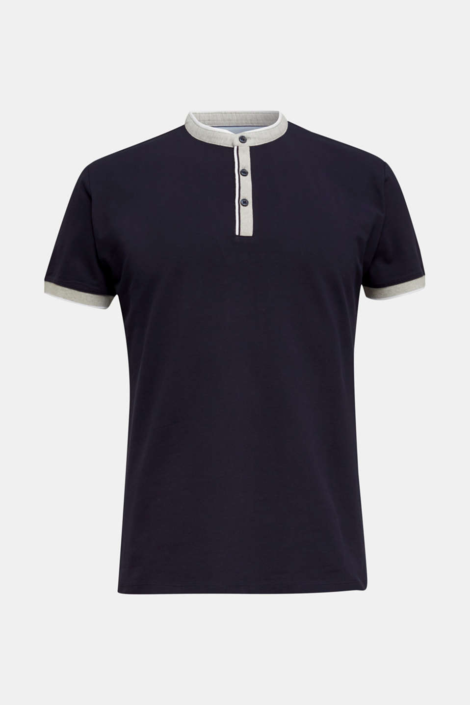 Stretch cotton piqué polo shirt, NAVY, detail image number 7